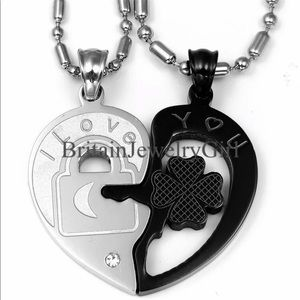 Jewelry - 2pcs His and Hers Heart Key Couples Necklace Set
